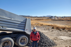 Idaho Rock & Sand delivering black basalt rock.