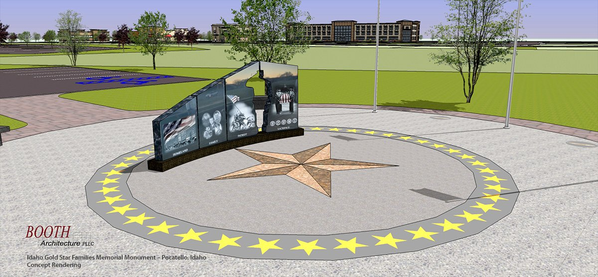 Idaho Gold Star Families Memorial Monument - Render