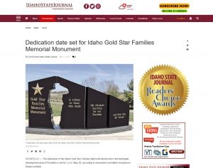 Dedication date set for Idaho Gold Star Families Memorial Monument