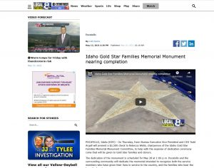 Idaho Gold Star Families Memorial Monument nearing completion.